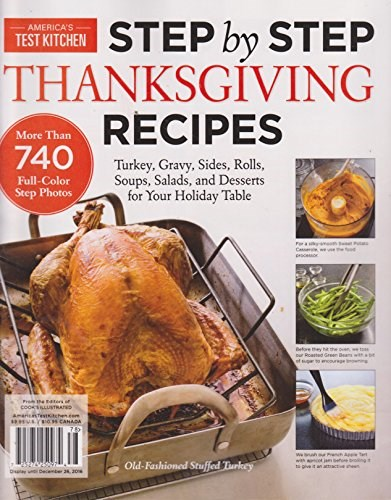 America's Test Kitchen Magazine Step by Step Thanksgiving Recipes 2016